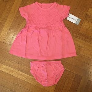 NEW! Carter's Baby Girl Coral Lace Dress